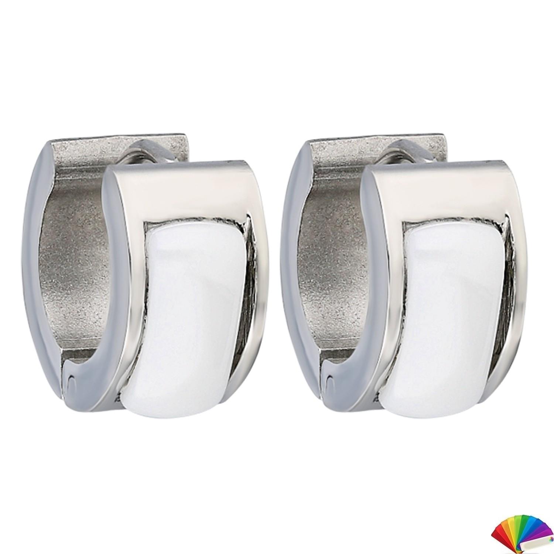 Ceramic Earring:E239 / Steel & White Ceramic