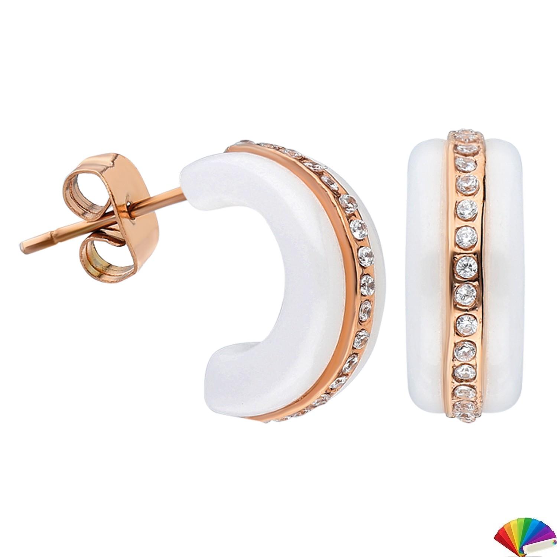 Ceramic Earring:E241 / Rose & White Ceramic