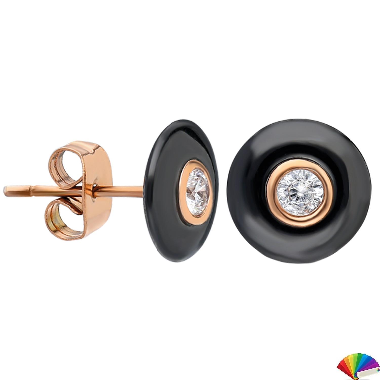 Ceramic Earring:E253 / Rose & Black Ceramic