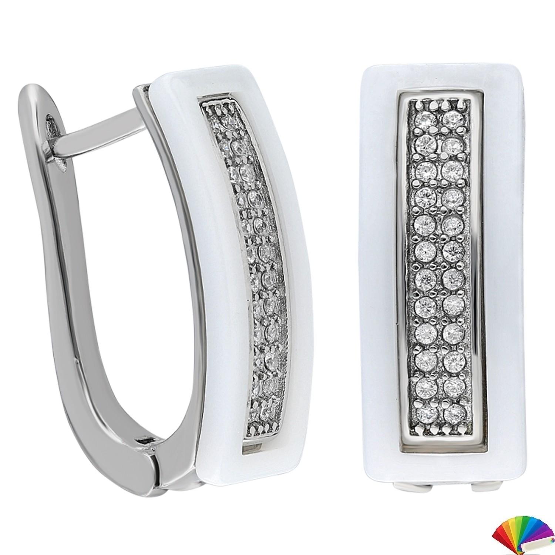 Ceramic Earring:E263 / Steel & White Ceramic